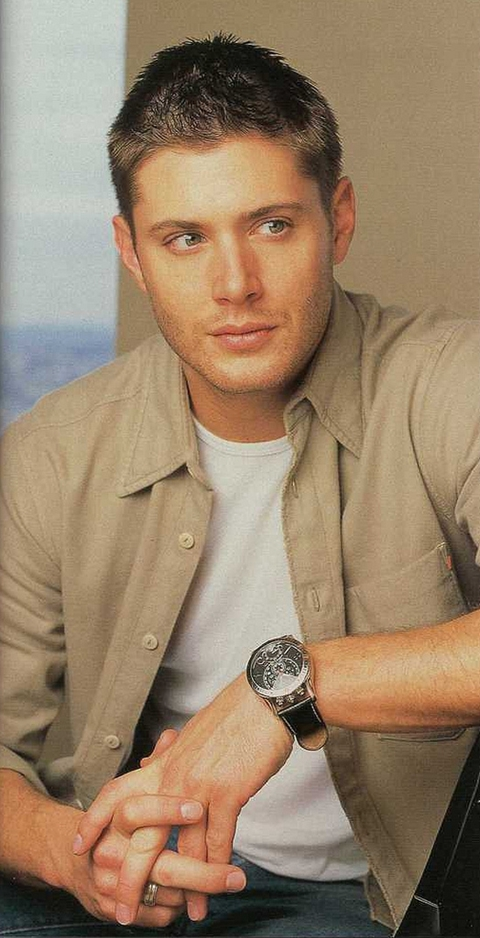 Jensen Ackles in beige shirt