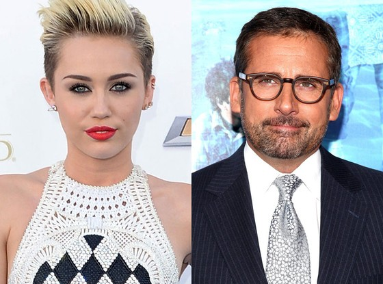 Miley Cyrus and Steve Carrell