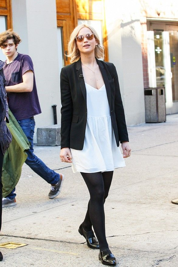 White Dress, Black Tights, Black Loafers and Black Blazer