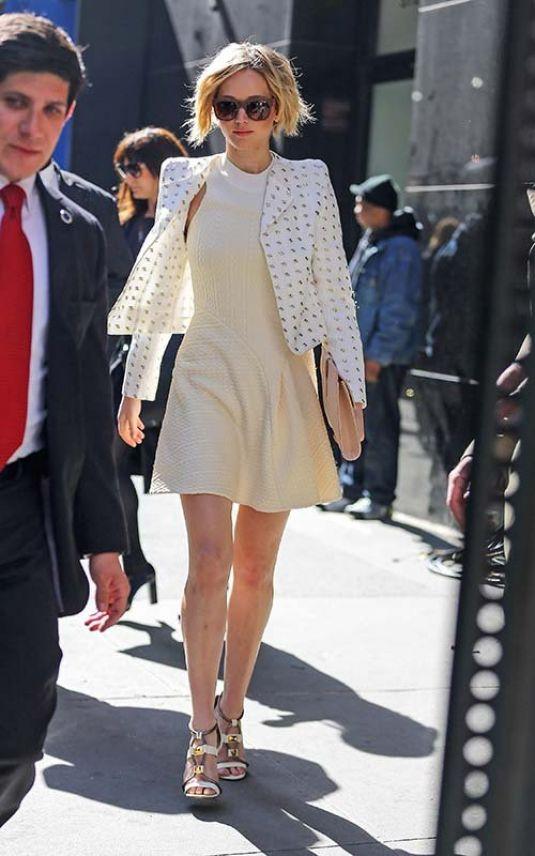White Patterned Blazer, Short Cream Dress